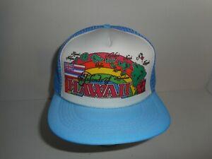 Vintage 80s Hawaiian Headwear Hawaii Trucker Snapback Hat Cap