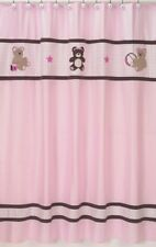 TEDDY BEAR PINK BROWN KIDS GIRL BATH FABRIC SHOWER CURTAIN SWEET JOJO DESIGNS