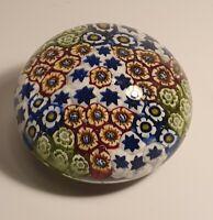 Murano Millefiori Vintage Glass Paperweight Multi Colour Flowers Yello Blue Red