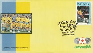 NEVIS 16 MAY 1986 MEXICO 86 WORLD CUP BRAZIL FIRST DAY COVER SHS