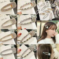 Women Shine Rhinestone Hair Clip Snap Barrette Hairpin Bobby Hair Accessories