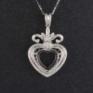 Heart Cut 11×11mm Natural Diamond Semi Mount Love Pendant Solid 14K White Gold