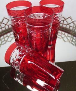 Lauren Ralph Lauren High Ball 6 1/4 Barware Vintage Antique Red 4 Crystal #EL24