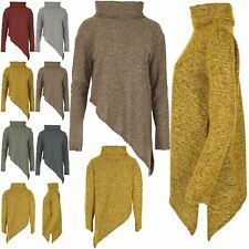 Ladies Knitted Baggy Jumper Womens Oversize Cowl Turtle Polo Neck Side Slant Top