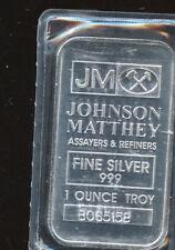 1 oz Troy Silver Bar Johnson Mathey .999 Silver B78