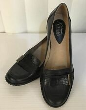 """Clarks Artisan Couture 2"""" Heel Buckle Black Brown Leather Shoes 5 6 7 8 9 WIDE!"""