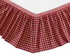 BRECKENRIDGE King BEDSKIRT : RED PLAID CHECK COTTAGE COUNTRY DUST RUFFLE SKIRT