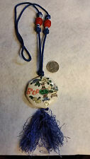 """Vintage""""Asian Blue&Wht Beads,Cinnabar ,Ceramic Painted ,Tassel, 26 Inch Necklace"""