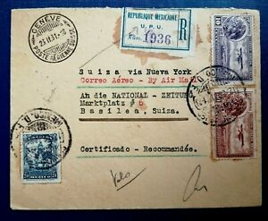 Old Stamp Correo Aéreos Mexico - RARE Cover  Swiss Via New York By Air Mail 1931