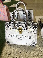 Anca Barbu Satchel WHITE Top Handle C'est La Vie Leather Bag Handbag Large New