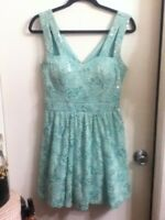 AS U WISH Vintage Lace Silver Sequin Turquoise Aqua Party Cocktail Dress Bra Lrg
