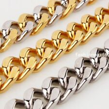 """9/11/13mm Stainless Steel Mens Cowboy Cuban Curb Link Chain Necklace 7""""-40"""""""