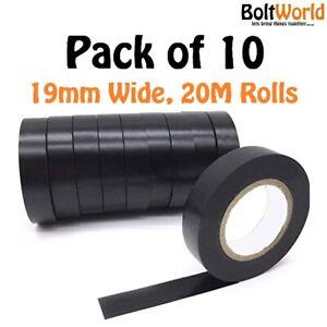 10 ROLLS BLACK ELECTRICAL PVC INSULATION TAPE 19mm x 20m FLAME RETARDANT