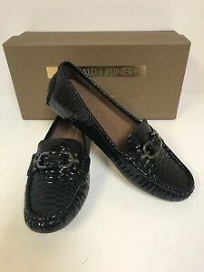 Donald J Pliner Viky-PP Black Patent Python Print Loafers