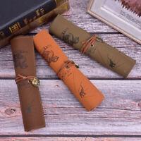 Retro Luxury Treasure Map Roll Case Bag Purse Pouch Leather Pen Pencil Ca NTAT