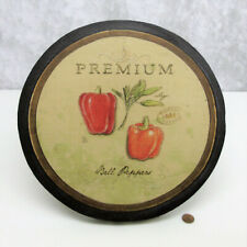 """12"""" Round Canvas RED BELL PEPPERS & SAGE WALL ART Organic Food Kitchen Hanging!"""