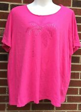 catherines womans 3X 26/28 blouse pink palm tree