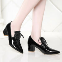 Womens Pointed Toe Lace-up Patent Leather Block Mid Heels Low Top Casual Shoes
