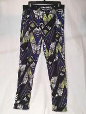 Topshop Top Shop Women Graphic Design Harem Pant Black Blue Green Print Size 8