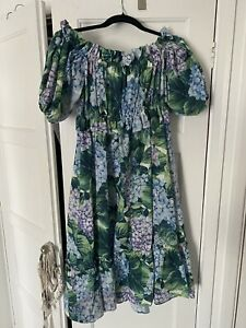Womens Flower Hydrangea Print Midi Dress Size 10/12