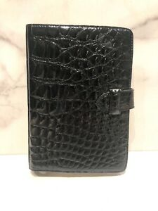 Vintage Italy Black Glossy Crocodile Address Book Planner Agenda
