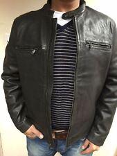 On Sale BANANA REPUBLIC BLACK LEATHER JACKET LARGE TAG £350 Unwanted Gift 172943