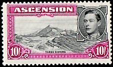 ASCENSION ISLAND SG47 1938 10/= BLACK & BRIGHT PURPLE p13½ MTD MINT