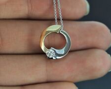 14k Oro Giallo E Bianco 0.20ct Tonda Diamante Collana A Catenina Con Ciondolo