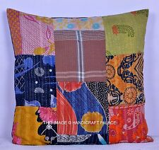 "24"" Indian Cotton Vintage Patchwork Kantha Work Cushion Cover Throw Home Decor"