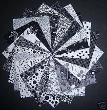 "40 Black and white 4""x 4"" Quilt Quilting Squares Fabric"