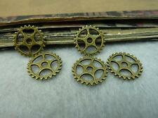 50pcs Diy Antique Bronze Style Charm Machinery Gear Ring Mini 15mm Pendant P123