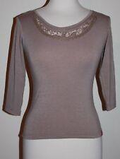 NWT New I'Somonde International Fashion Shirt Top Taupe Soft Stretch XS X-Small