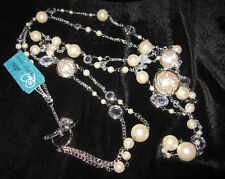 BETSEY JOHNSON BETSEY BLUE CRYSTAL AND PEARL LONG NECKLACE