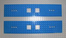 LEGO Eisenbahn - 2x Grundplatte 6x28 blau - Waggon Zug Train Base 92339 60052