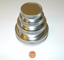 1, 2, 4, & 8 oz Round Shallow Survival Tins With Screw Top Lids Craft Sewing Use