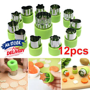 12Pcs Mini Fruit Vegetable Mold Cookie Shape Cutter Stainless Steel Mould Food