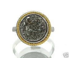 Solid 925 Sterling Silver Round Grey Druzy Two-tone Cocktail Ring Sz-9 ..