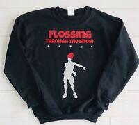 Kids Boys Christmas Jumper Sweatshirt Outfit Flossing Through The Snow 3-14 yrs