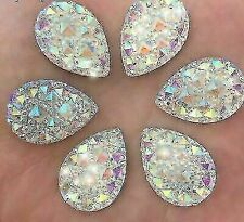 50x Flat back Rhinestone Teardrop Large AB Bead Diamante Gem Crystal Iridescent