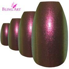 False Nails Gold Purple Chameleon Ballerina Coffin Bling Art 24 Tips 2g Glue