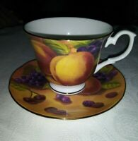 DUCHESS NECTARINES/PEACHES AND CHERRIES BONE CHINA TEA CUP AND SAUCER SET