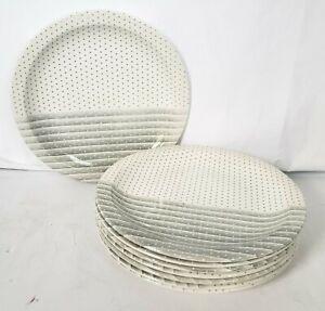 Churchill White Gray Striped Dinner Plates Set Of 8