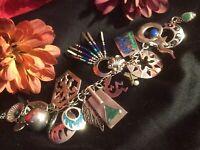 Vintage 925 Sterl Navajo Zuni Native American Kokkopeli Lapis ++ Charm Bracelet