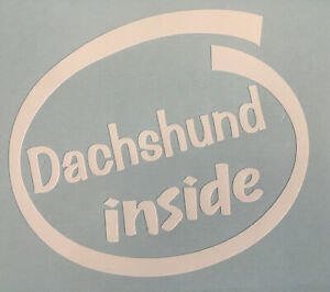 DACHSHUND INSIDE DOG ON BOARD CAR WINDOW STICKER DECAL IN WHITE ALL COLOURS MADE