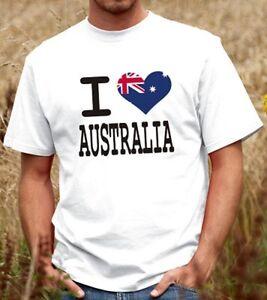 Australian Souvenir Fan Shirt Men / Women 100% Cotton - I Love Australia