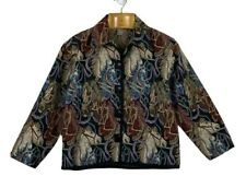 Womens Size M -Multicolour Tapestry Button Long Sleeve Jacket-Horses Equestrian