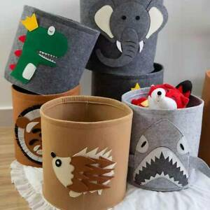 Foldable Large RoundSoft Handsewn Felt Laundry Basket Toy Storage Bucket Animal