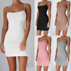 Women Fashion Dress Solid Straps Package Hip Dress Night club Skirt Party XS-5XL