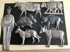 More details for rare antique french folk art silver stamped animal sailor figures x 7