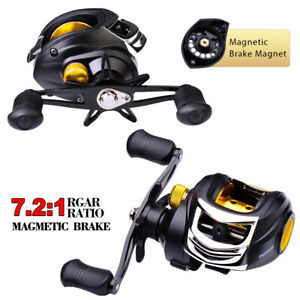 New Baitcast Fishing Reel 7.2:1 Super Smooth Bass Fresh Water Left Right Hand